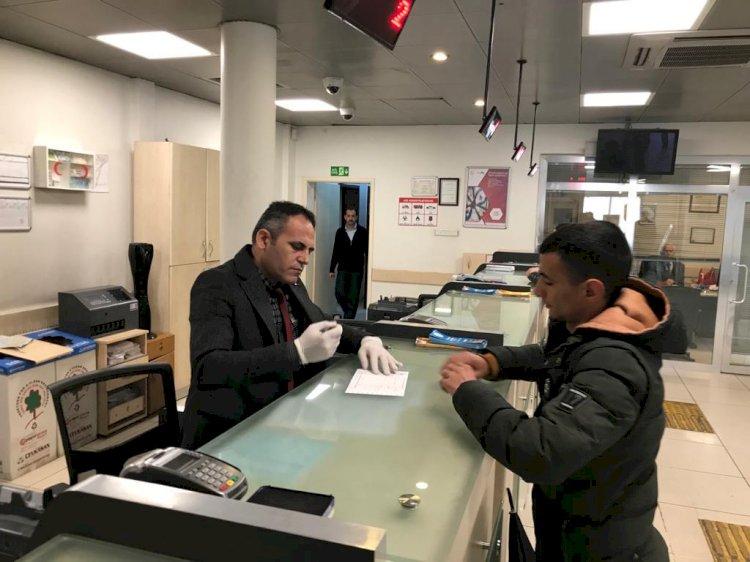 PTT Bank Nizip Şubesinde corona virüsü önlemi