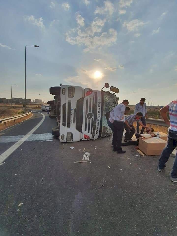 Suriye'ye Kahve taşıyan tır kaza yaptı