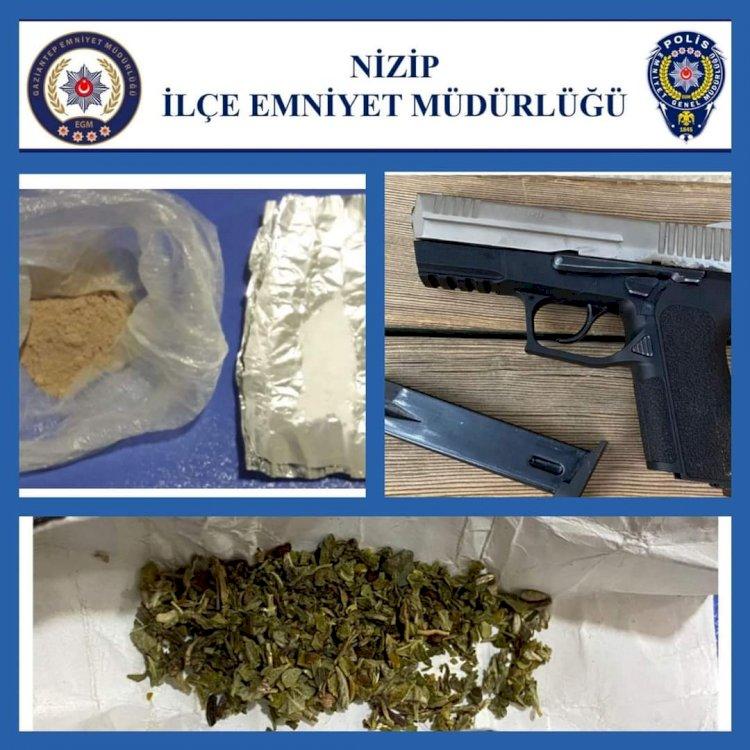 Nizip'te uyuşturucu ve silah yakalandı