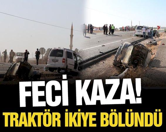 Traktörün ikiye bölündüğü feci kazada 1 kişi ölürken, 3 kişide yaralandı